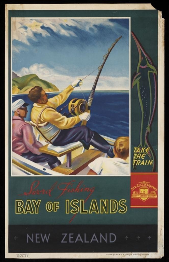 Sword fishing, Bay of Islands, New Zealand. N.Z. Railways Studios, 1930s.