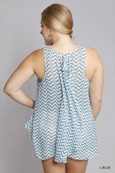 Chevron Tank with Back Ruffle - Blue – Honey Penny Boutique - plus size top - plus size chevron