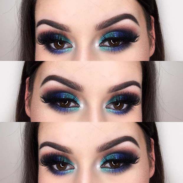 Multi Tone Blue Smokey Eye Look - Perfect for Brown Eyes!