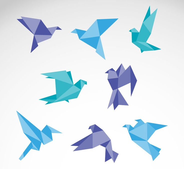 Eight color origami dove vector material