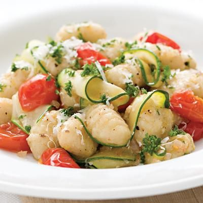 Gnocchi with zucchini and parsley brown butter.  424 calories!  Other healthy recipes here too.