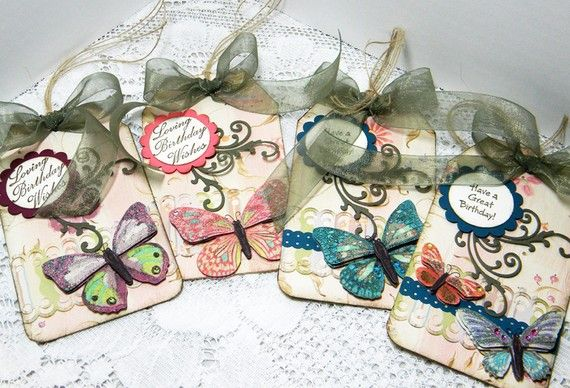 Butterfly Birthday Gift Tags  Set of 4 by Susan by UniqueGreetings, $7.95