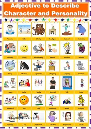 Adjective to Describe Personality and Character - ESL worksheets