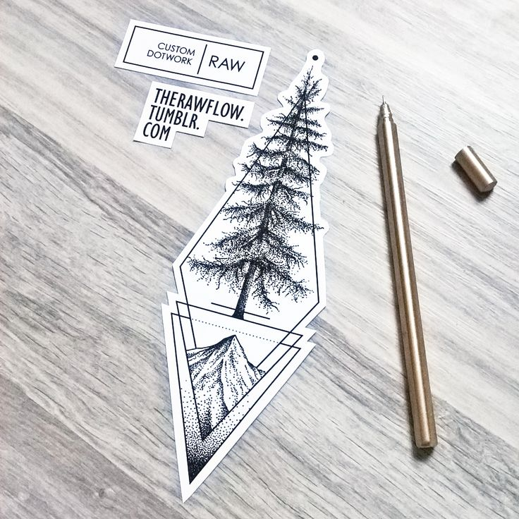 Dotwork geometric cedar tree tattoo design, made for Alec