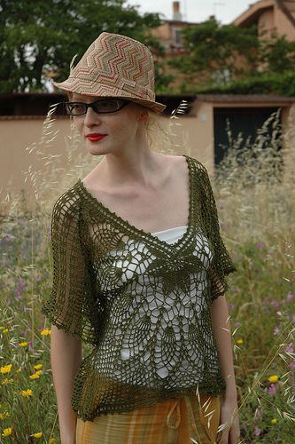 Flowery See-Through V-Neck by RichMore Design