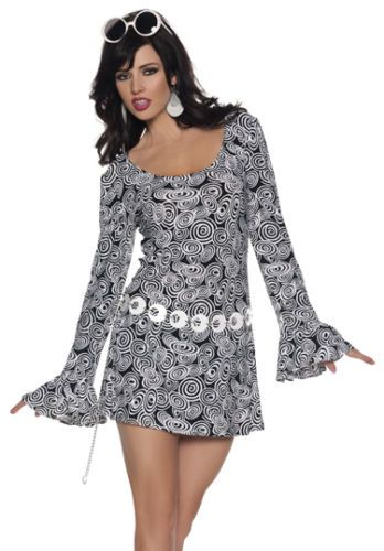 Sexy Black White Mod Gogo Dress Retro 60s 70s Costume 1e3d0d6af18