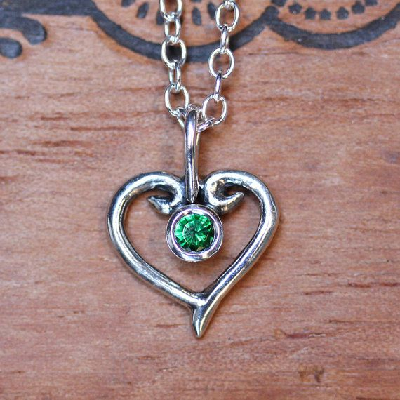 Emerald heart necklace, silver heart necklace, Valentine necklace, May birthstone necklace, swirl heart, birthstone jewelry gift for her