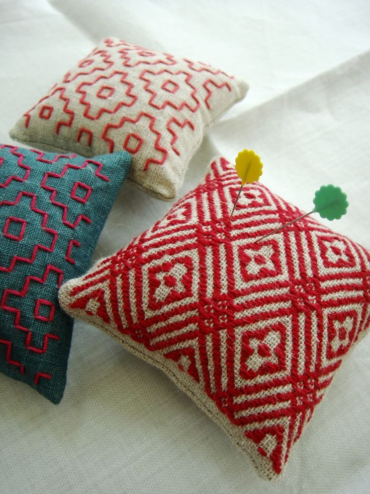 handwoven pin cushions