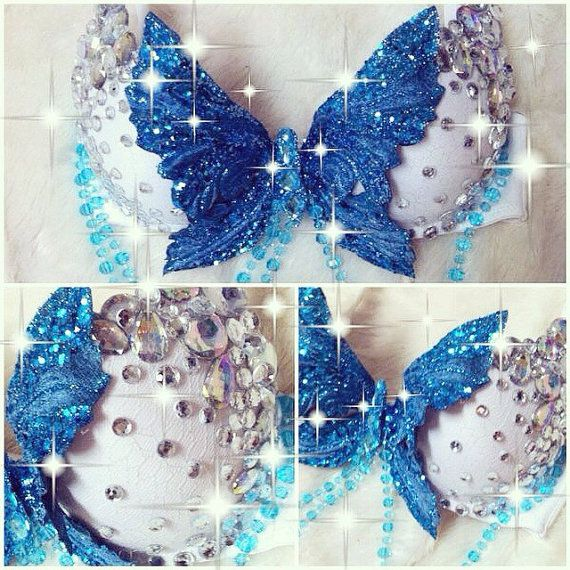 Blue Butterfly Rave Bra by TheLoveShackk on Etsy