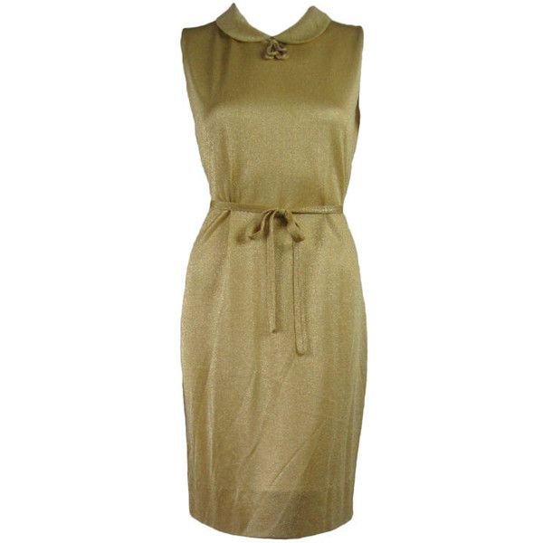 1960's Italian Lamé Shift Dress ❤ liked on Polyvore featuring dresses, gold shift dress, sleeveless shift dress, brown cocktail dress, gold bodycon dress and bodycon dress