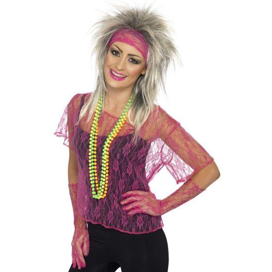Jaren 90 kleding bij warenhuis Trendmax, Neon roze kanten shirt dames,90,doorkijk,gaatjes,jaren,kant,kanten,lace,neon,net,netje,nineties,pink,roze,shirt