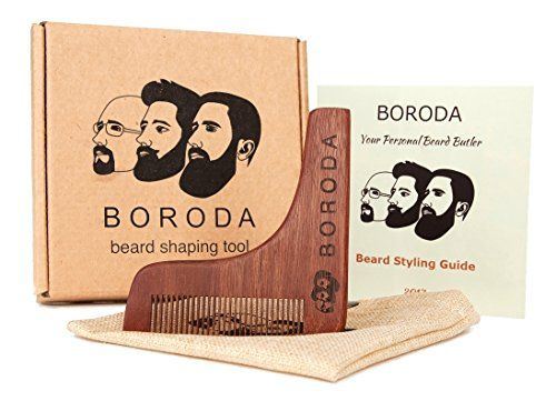 BORODA Beard and Mustache Wooden Shaping Tool  Comb Beard Styling  Styler Template Wood Beard Trimmer for Perfect Goatee Lines Detailed Styling Guide  PREMIUM Packaging KitSet for Men Best Gift ** Details can be found by clicking on the image.