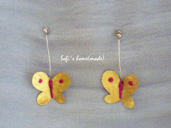 Handmade brass butterfly earrings with glitter plus free gift