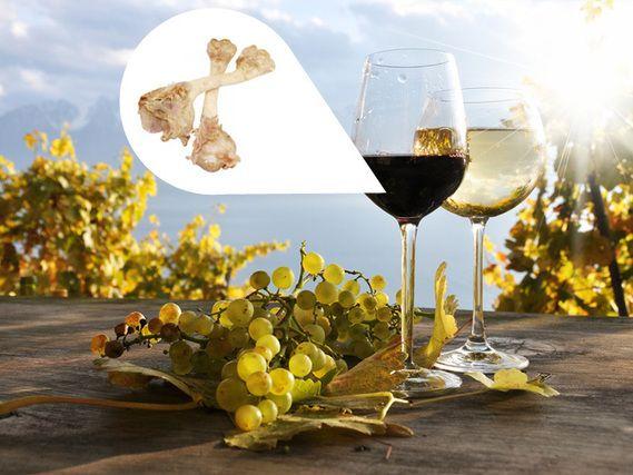 """Le vin - pas forcement végétarien! La liste d'ingrédients détaillés ne permet pas de savoir si le procédé de fabrication du vin a  recours à des substances d'origine animale (gélatine d'origine porcine) lorsqu'il s'agit d'un auxiliaire technologique. /  Weinpanscherei? Aus der """"Grauzone"""" der Hilfsstoffe, die nicht deklariert werden müssen! Gelatine aus Knochen im Wein! http://www.utopia.de/galerie/9-versteckte-stoffe-im-essen/3"""