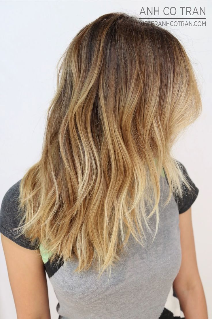 A great way to lighten hair with a low-maintenance color, keeping the roots natural