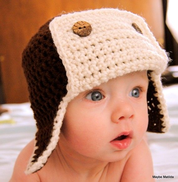 Brown and Cream Crochet Baby Bomber