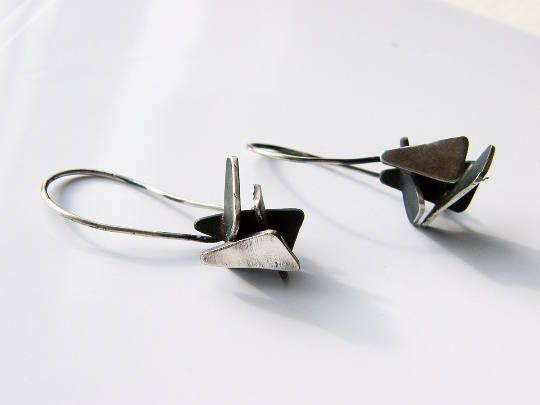 Triangles. geometric dangle earrings oxidized silver earrings