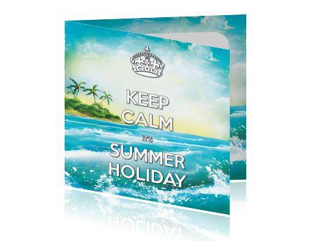 Retro zomer vakantiekaart met zee en palmbomen