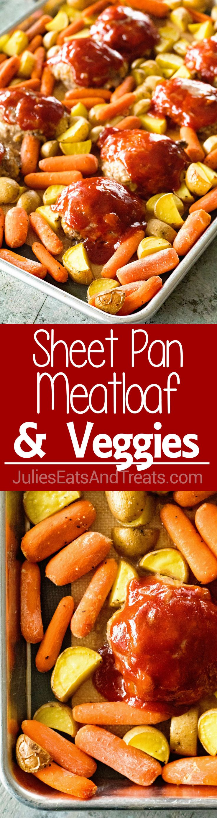 Sheet Pan Mini Meatloaf and Veggies ~ An Easy Sheet Pan Dinner! Homemade Mini Meatloaves, Carrots and Potatoes all Made on One Sheet Pan for Busy Nights! via @julieseats