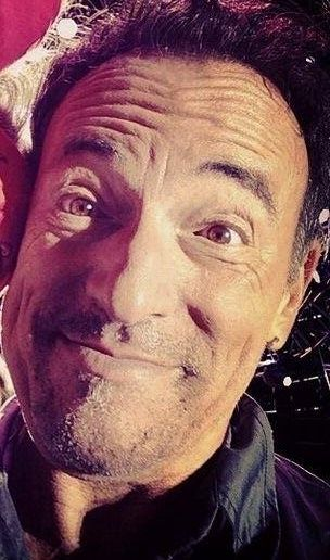 Bruce Springsteen - a cute, funny selfie from Dallas, March Madness, 4/6/14   .   .   .   .   . (thesamiposts)