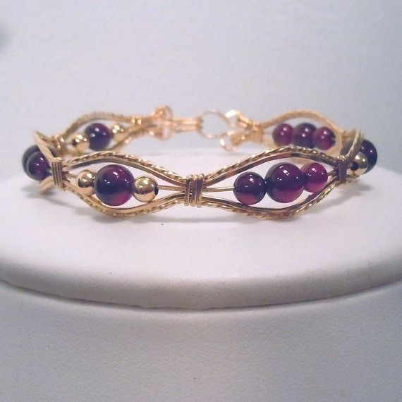 Garnet and gold filled wire wrapped bracelet by dreamstardesigns