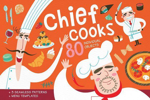 Chief cooks. National cuisines. by Alena Razumova on @creativemarket