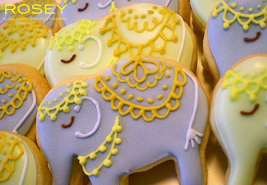 mehndi indian wedding elephant cookies