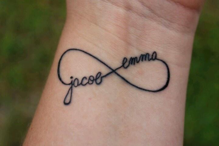 Infinity tattoo, using kids names. Love!