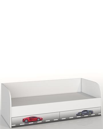 Roomakid Тачки  — 15000р. -------------------------------------- Кровать с ящиками Roomakid Тачки - односпальная модель со спинкой и 2 ящиками. Украшена рисунком. Размер спального места - 190х90 см. Материал - ЛДСП. Для детей от 3 лет.