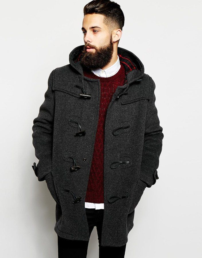 $303, Charcoal Duffle Coat: Duffle Coat With Check Hood by Gloverall. Sold by Asos. Click for more info: http://lookastic.com/men/shop_items/243023/redirect