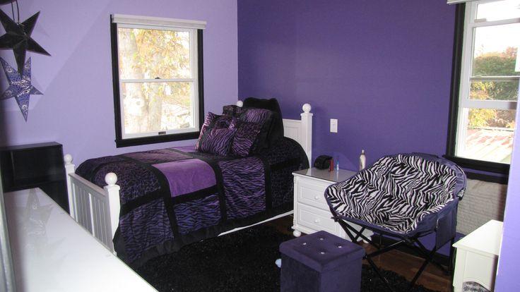 Purple Zebra Bedroom with Benjamin Moore Mystical Grape, Amethyst Cream, and Black.