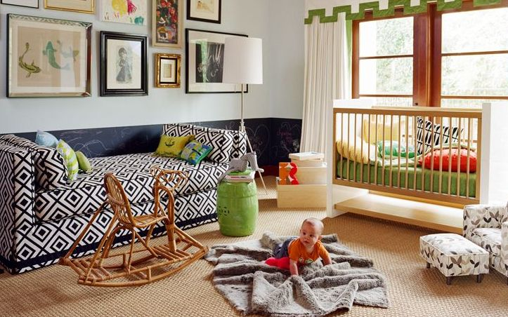 Eclectic Nursery: Chalkboards, Idea, Couch, Boys Nurseries, Frames, Colors, Galleries Wall, Baby Rooms, Kids Rooms