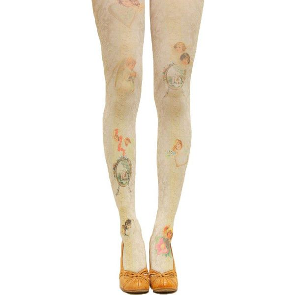 Beige Ladies Cute Angel Printed Vintage Long Stockings ($12) ❤ liked on Polyvore featuring intimates, hosiery, tights, socks, stockings, beige, vintage stockings, vintage tights, beige stockings and vintage hosiery