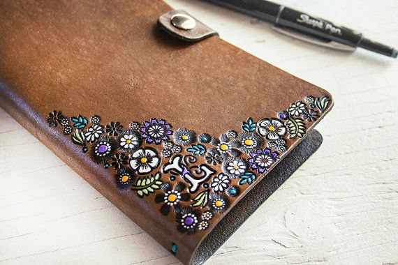 Floral Leather Journal and Sketchbook - Custom Monogram - Hand Tooled Leather Diary - Personalize with Any Initial on Etsy, $95.00