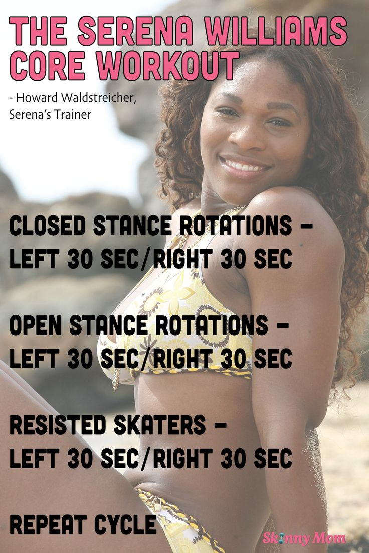 The Serena Williams Workout: Core - great routine from her personal trainer. Click pin for workout video!