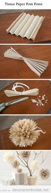 Manualidades e ideas baratas para decorar una boda, flores de papel