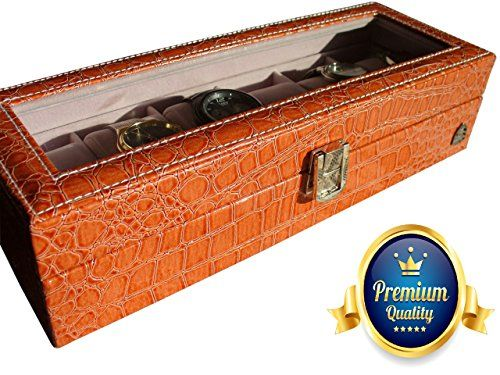 Leather Watch Box - Display Case for 6 Watches - PU Leather Crocodile Design - http://www.jewelryfashionlife.com/leather-watch-box-display-case-for-6-watches-pu-leather-crocodile-design/