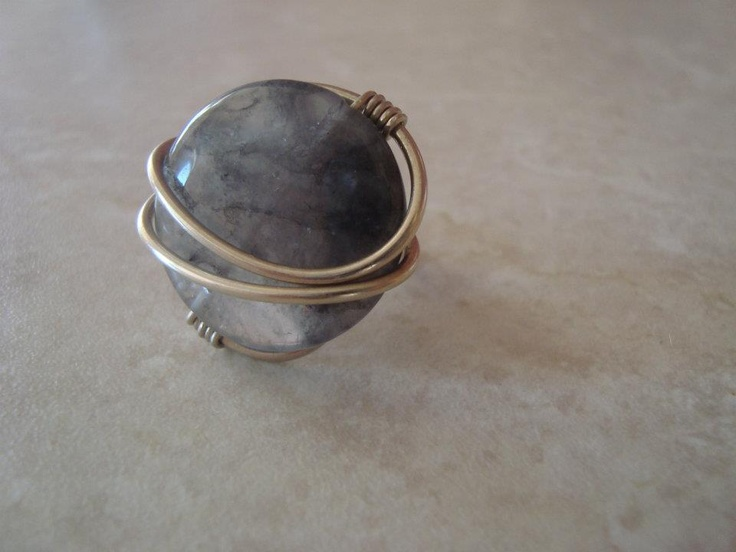Wire ring with semiprecious stone.