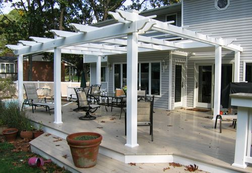 low deck (white edging!) and pergola