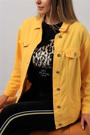 Kol Detaylı Sarı Bayan Kot Ceket Modeli 8927b Bayan Ceket