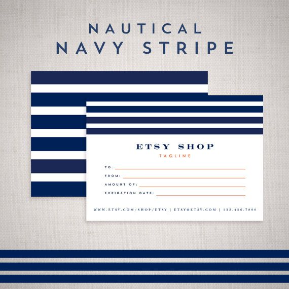 Gift Certificate Template Design for Etsy shop- Nautical Navy - printable gift certificate template