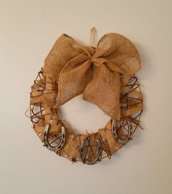 Rustic Horseshoe Wreath by NautiBits on Etsy