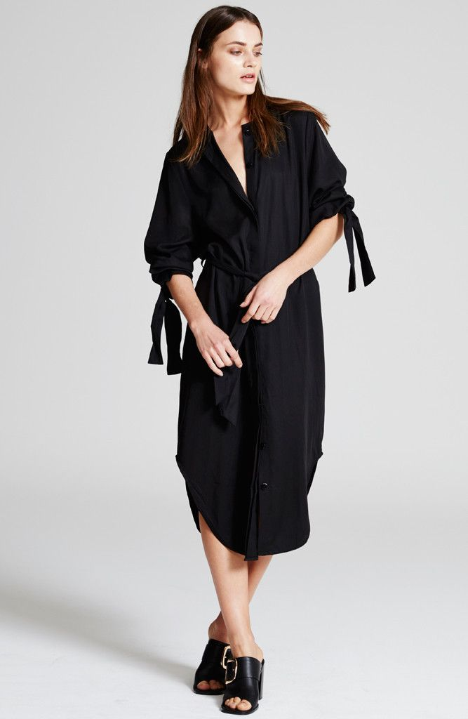 STAPLE THE LABEL - Ut1510422 Staple The Label Reacher Shirt Dress - Black
