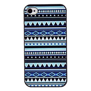 Blå toner Farvede Tegning Mønster Black Frame PC Hard Case for iPhone 4/4S – DKK kr. 26