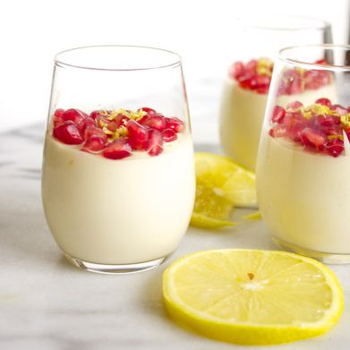 Vegan Lemon Mousse with Pomegranate Flair-- Here's a version that uses cashews and tofu instead of whipped coconut milk.