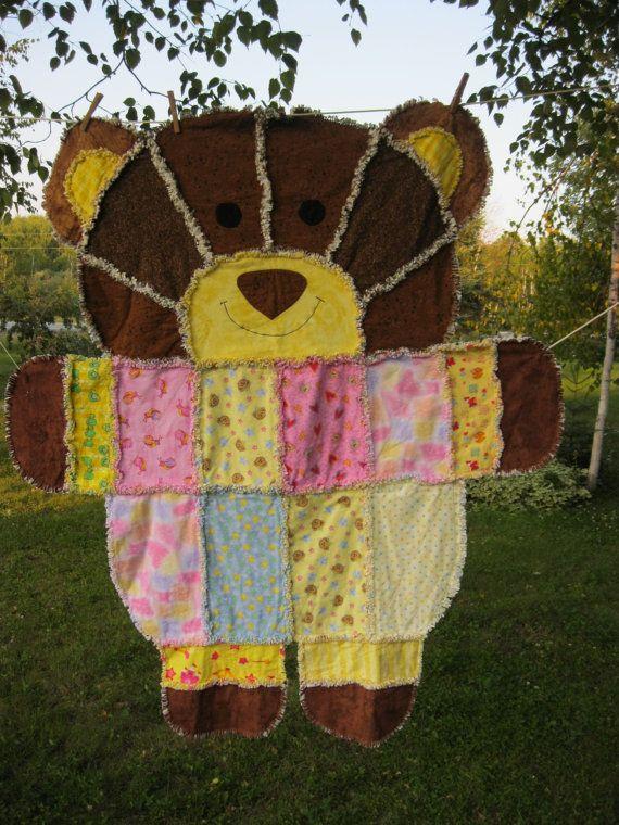 Teddy Bear Rag Quilt Flannel Children Crafts Rag