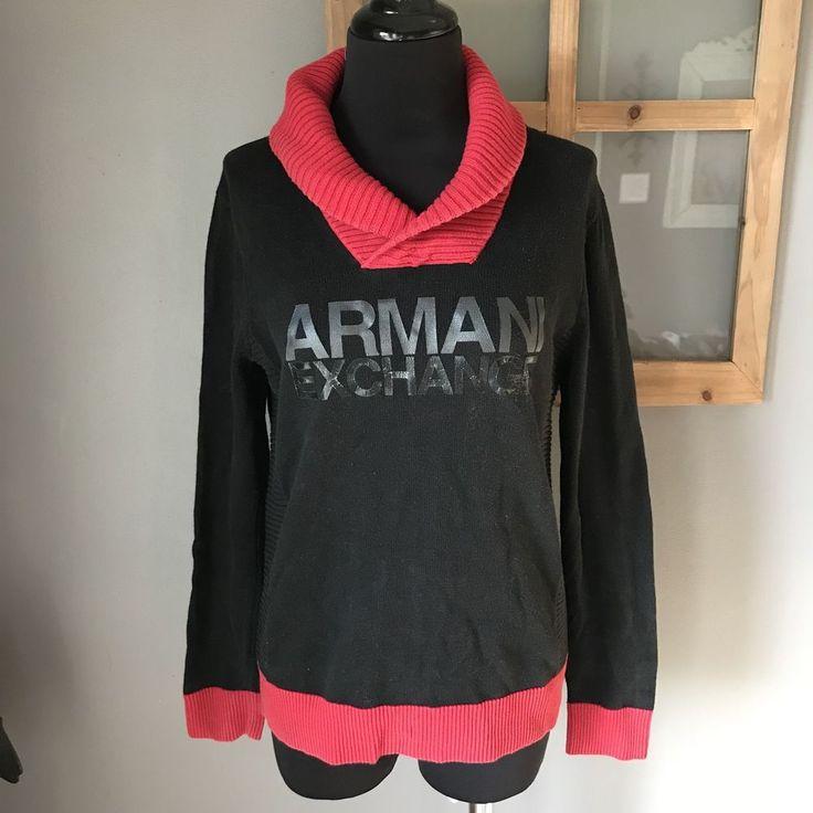 A/X Armani Exchange Black Red Logo Lettered Shawl Collar Sweater S Euc #ArmamiExchange #ShawlCollar #CareerDressy