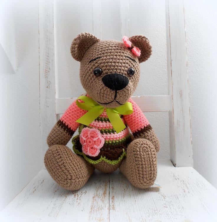 Háčkovaný medvídek - Růženka ʕ•͡ᴥ•ʔ Medvědička k objímání.