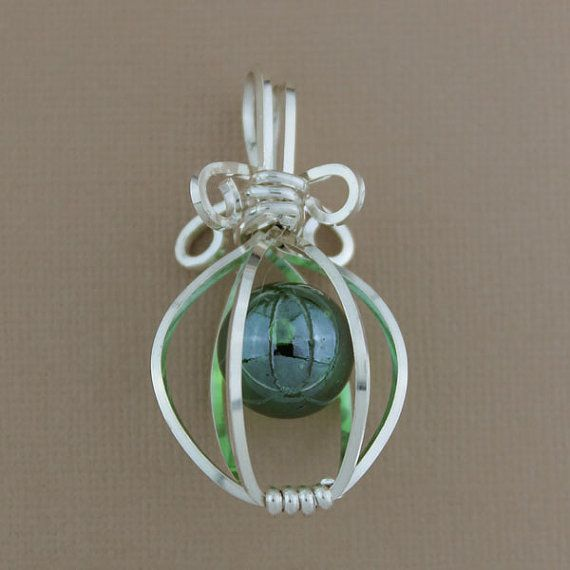 Large gauge Sterling Silver Wire Wrapped Cage with Marble Pendant, Wire Wrapped Jewelry Handmade on Etsy, $60.00
