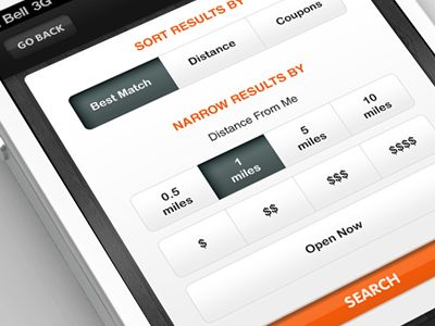 Dribbble - iPhone App - Search Results Filter by Anke Mackenthun